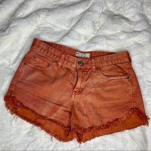 Free People Burnt Orange Jean Shorts